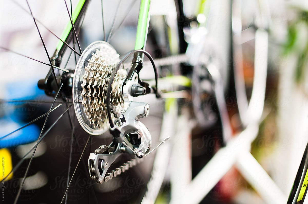 Eight Speed Transmission Of Modern Mountain Bike In Close Up By Guille Faingold Bike Transmission Stocksy United