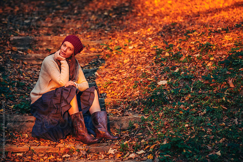 Woman siting in nature by Aleksandra Kovac for Stocksy United