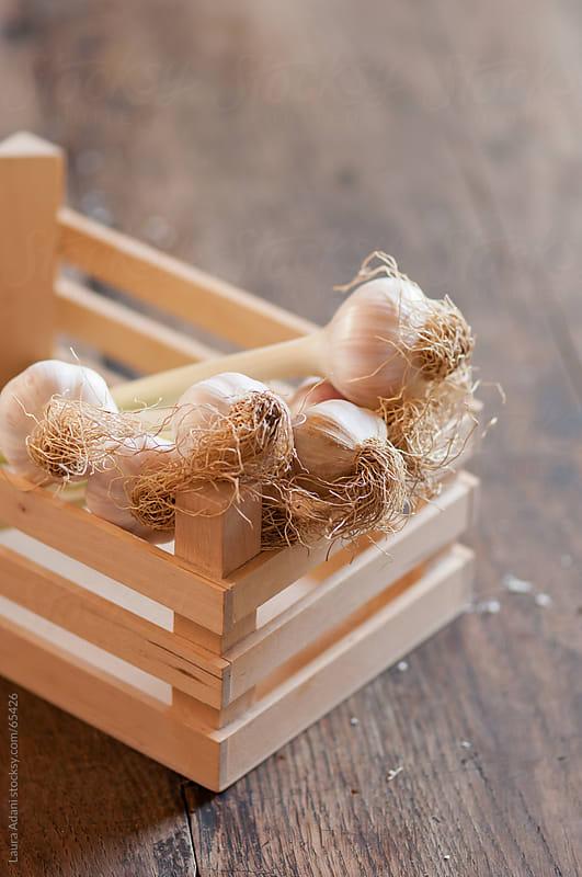 a small wooden box full of fresh garlic by Laura Adani for Stocksy United