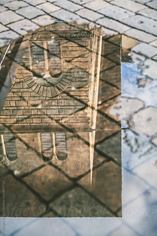 Old Italian Palace Reflected in a Puddle by Giorgio Magini for Stocksy United