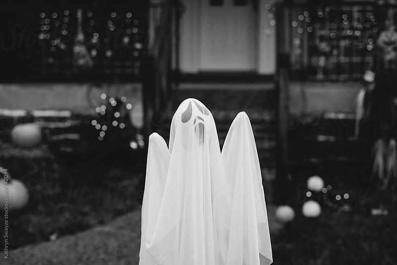 Wailing ghost is centerpiece to a home halloween display by Kathryn Swayze for Stocksy United