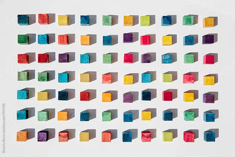 Colorful cubes geometrically arranged in a form of a rectangle by Beatrix Boros for Stocksy United