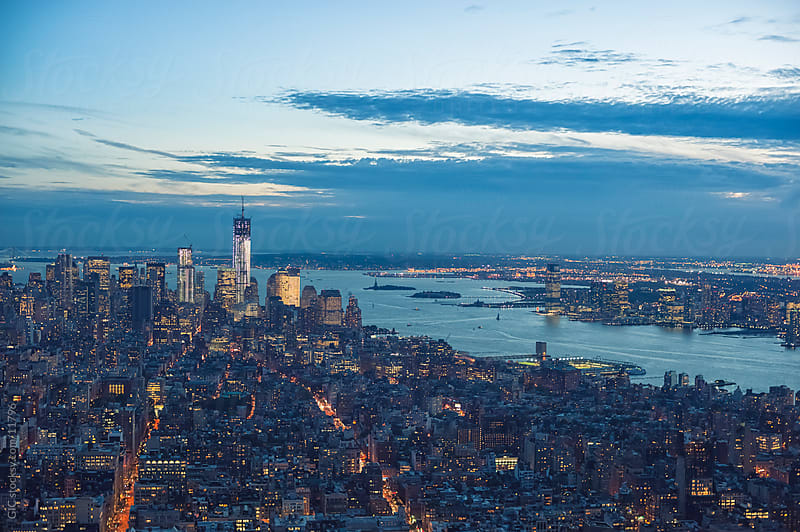 Manhattan skyline during twilight by GIC for Stocksy United