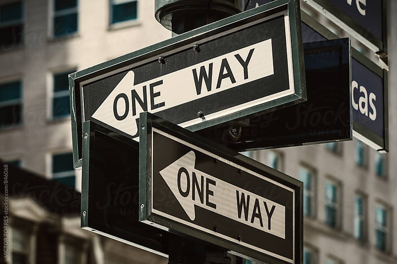 One Way Signs in Manhattan Streets by Victor Torres for Stocksy United