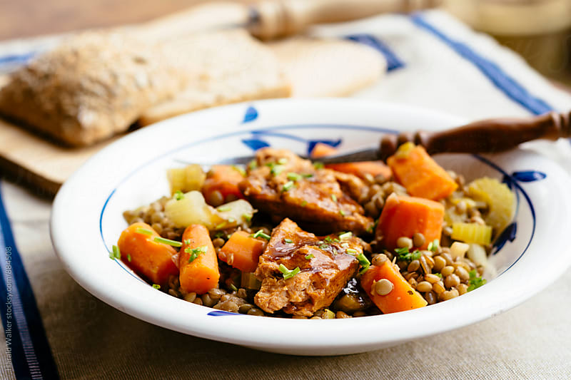 TVP Medallions on Sweet and Sour Lentils by Harald Walker for Stocksy United