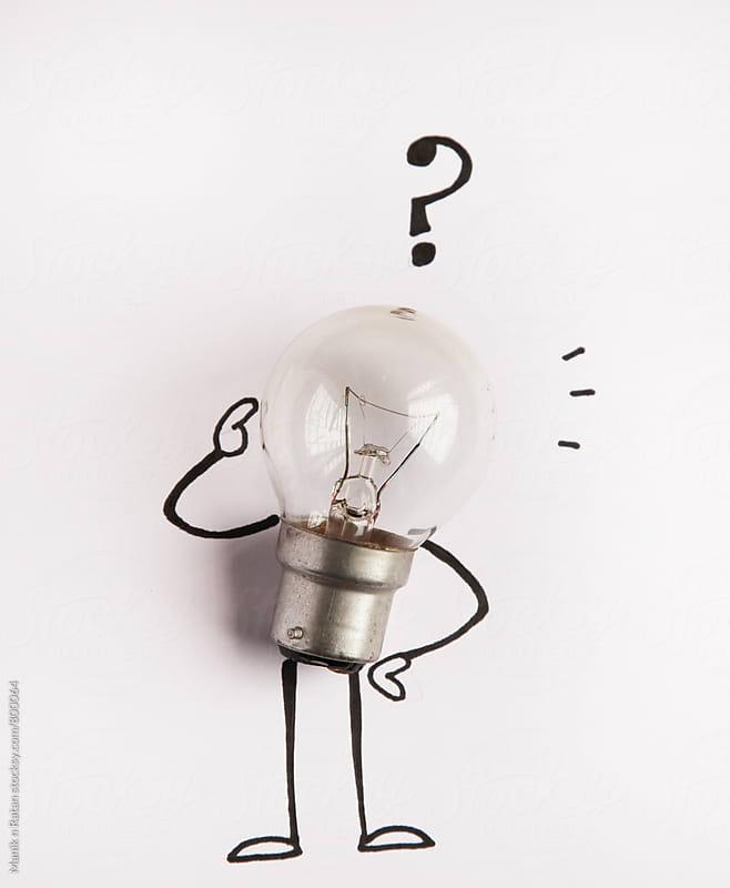 Idea bulb got question.  by Manik n Ratan for Stocksy United