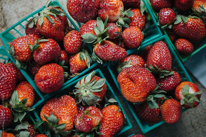 Fresh strawberries for sale at farmer's market by Cara Dolan for Stocksy United