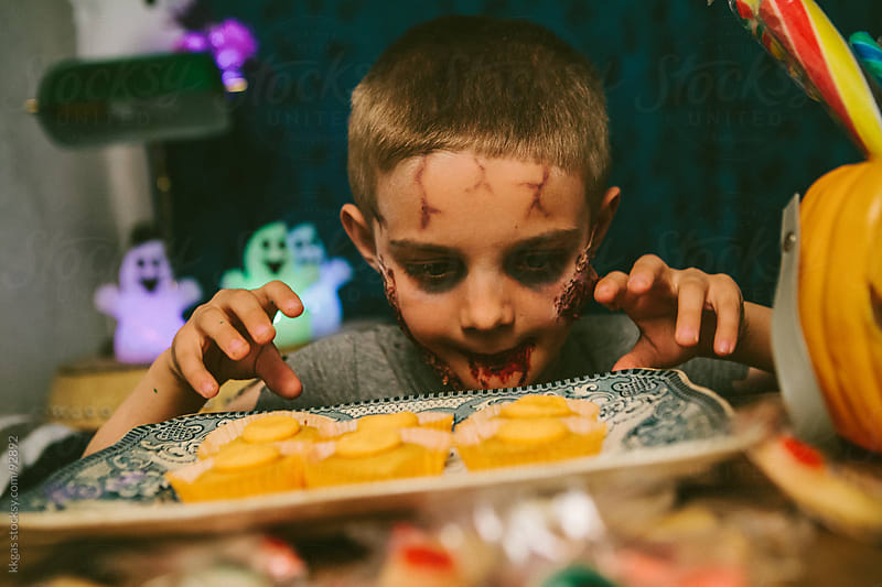 Little boy in Zombie Halloween costume by kkgas for Stocksy United
