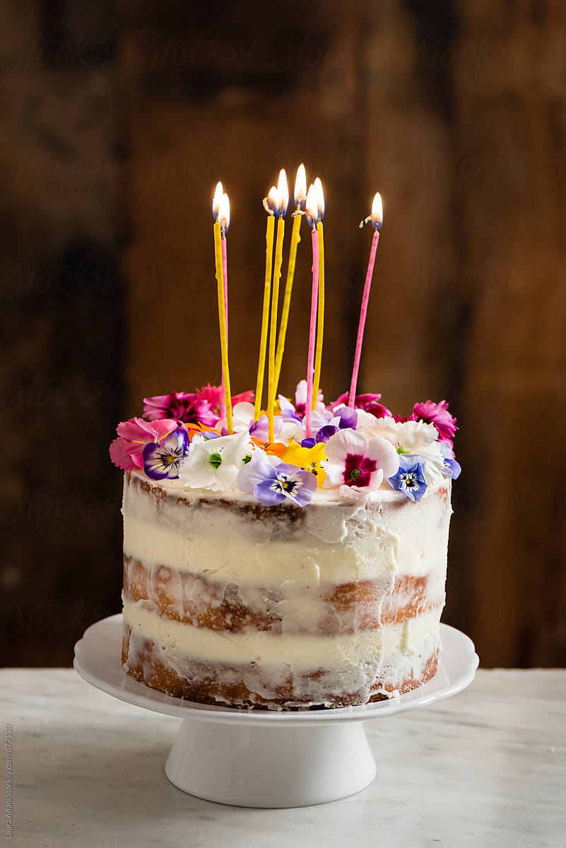 Marvelous Naked Cake With Edible Flowers By Laura Adani Cake Layered Funny Birthday Cards Online Elaedamsfinfo