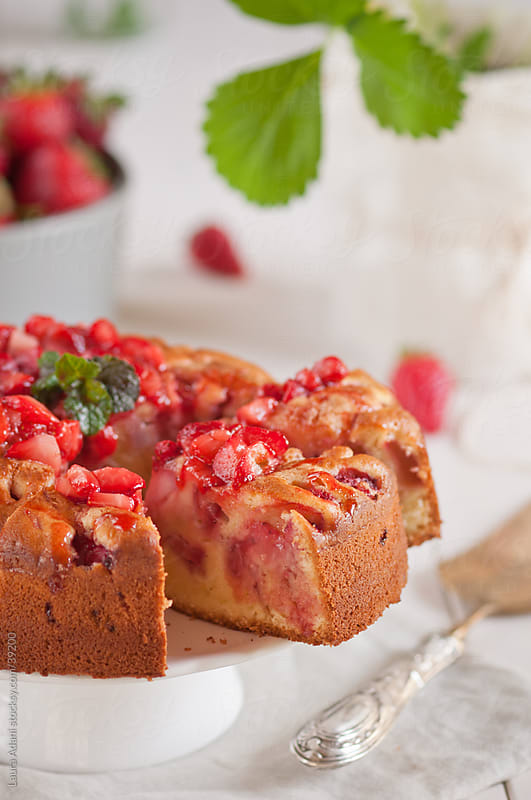 Strawberries soft cake slices by Laura Adani for Stocksy United