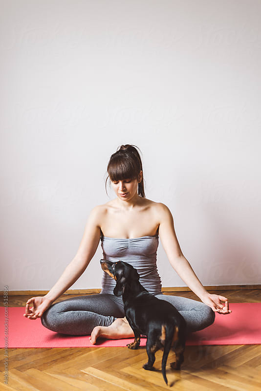 Woman meditating with cute dachshund standing in front of her by Aleksandra Jankovic for Stocksy United