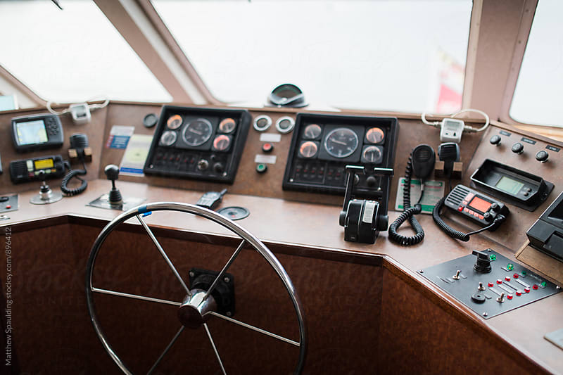 Large cruise vessel wheelhouse with instrument panel by Matthew Spaulding for Stocksy United