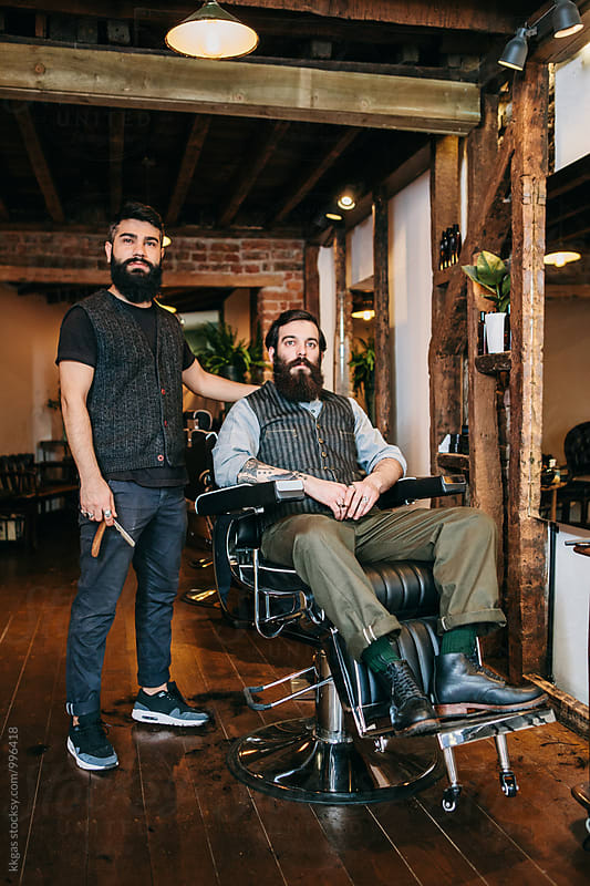 Barber and customer  by kkgas for Stocksy United