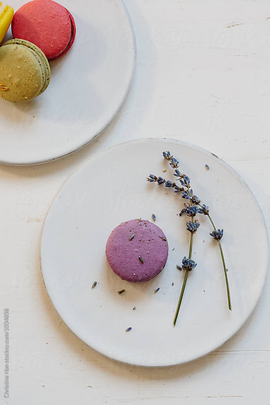 french macarons on white ceramic plates by Christine Han for Stocksy United