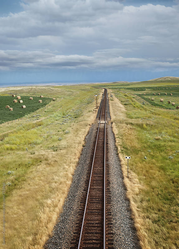Overhead view of railroad tracks on the prairies by Sandra Cunningham for Stocksy United
