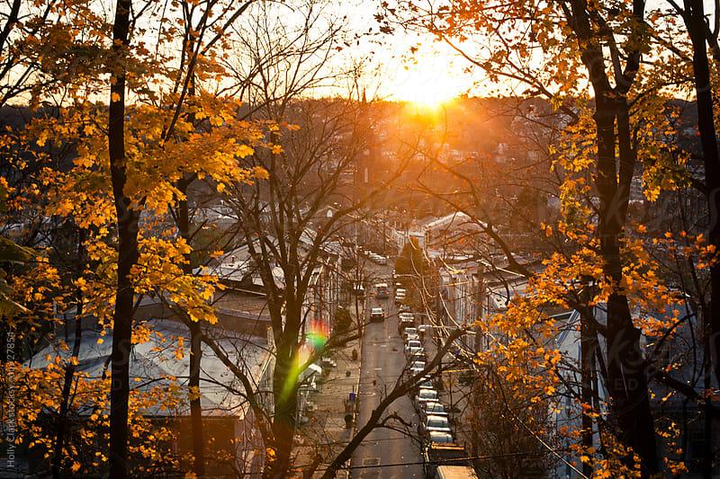 Autumn Sunset in a Philadelphia Neighborhood by Holly Clark for Stocksy United