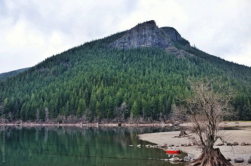 Little Red Boat on Rattlesnake Lake by Eric Bowley for Stocksy United