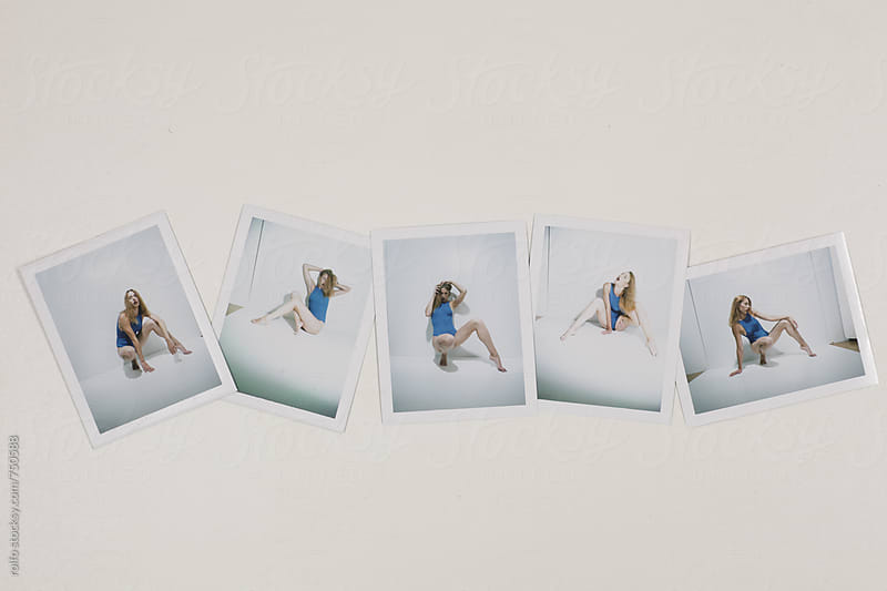 Polaroids of a blonde woman in studio by rolfo for Stocksy United