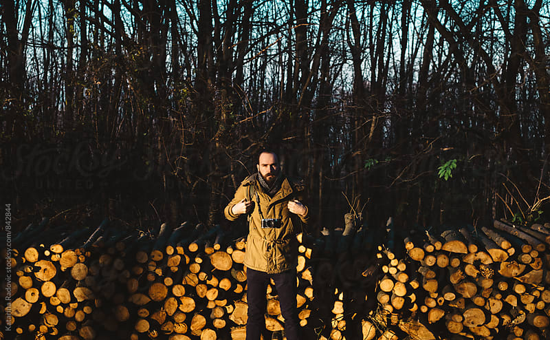 Handsome Bearded Man Standing in the Woods With His Backpack by Katarina Radovic for Stocksy United