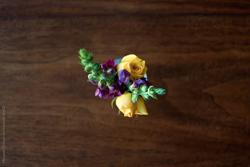 a small bouquet of flowers, seen from above by Margaret Vincent for Stocksy United