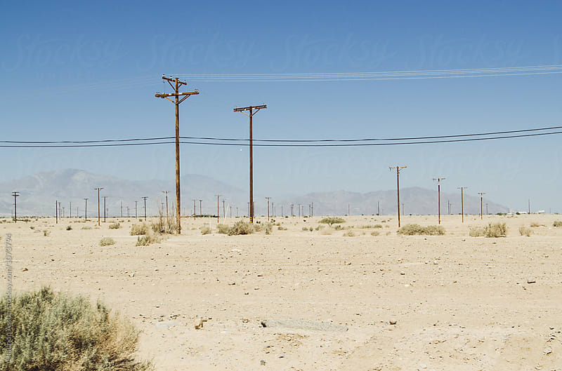 Salton Sea desert and powerpoles by Shannon Aston for Stocksy United