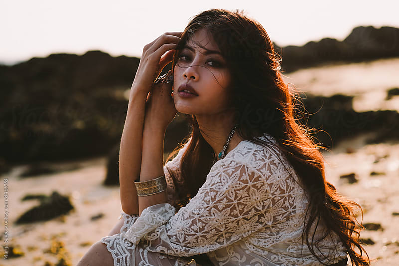 Beautiful Asian Woman by the Sea by Marija Savic for Stocksy United