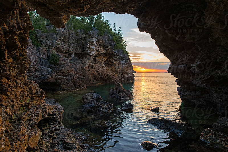 Sunset Landscape at Grotto Sea Cave on Georgian Bay Bruce Peninsula National Park Tobermory Ontario by JP Danko for Stocksy United