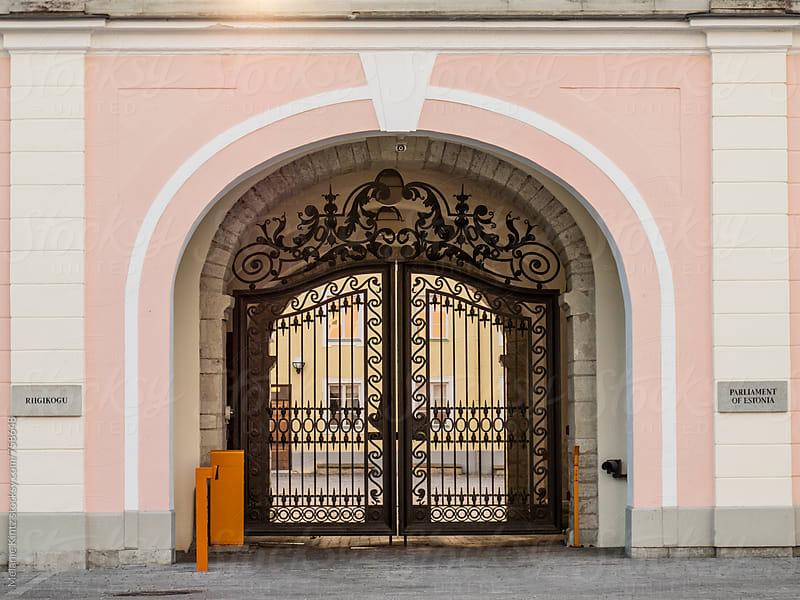 Entrance gate of the Estonian Parliament (Riigikogu) by Melanie Kintz for Stocksy United