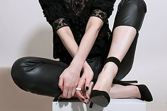53df7acd6b66f8 Sonja Lekovic · sexy legs in black leather pants and high heels