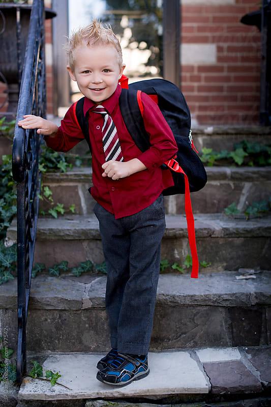 Kindergarten Primary School Boy Going Back To School  by JP Danko for Stocksy United