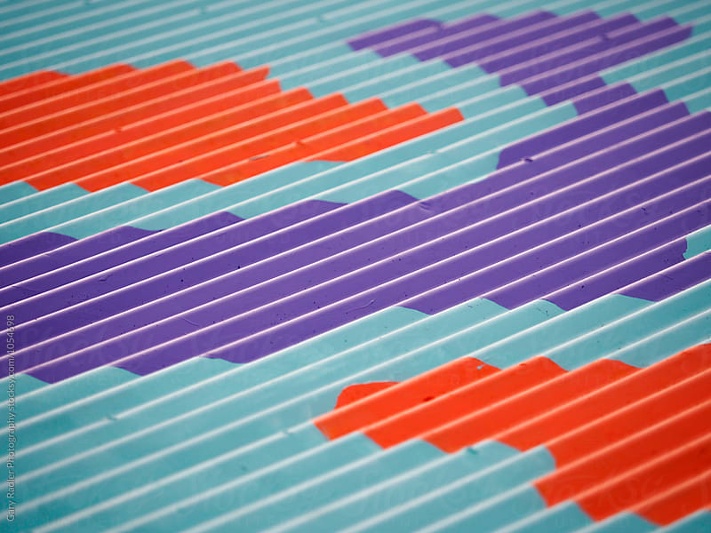 Colourful Pattern on a Corrugated Iron Roof by Gary Radler Photography for Stocksy United