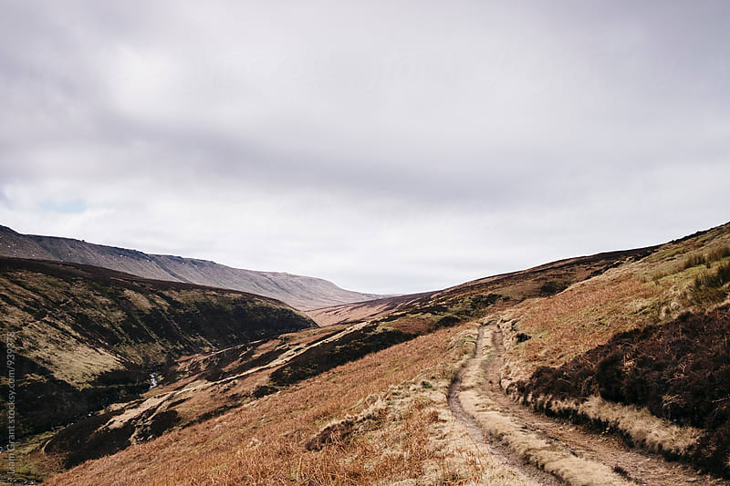 Track on moorland hillside. Ashop Moor, Derbyshire, UK. by Liam Grant for Stocksy United
