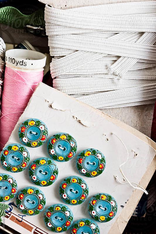 Several sewing utensils by Melanie Kintz for Stocksy United