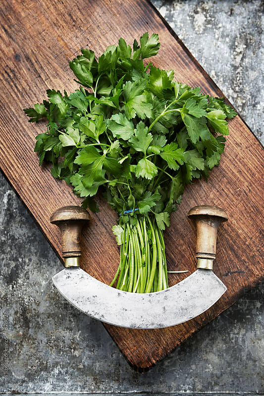A bunch of parsley and herb knife on a chopping board by James Ross for Stocksy United