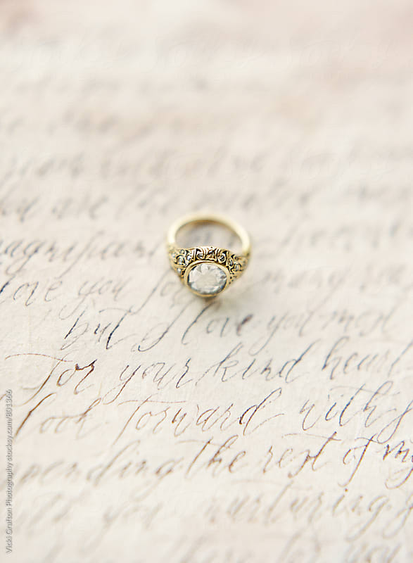 Vintage engagement ring and calligraphy vows  by Vicki Grafton Photography for Stocksy United