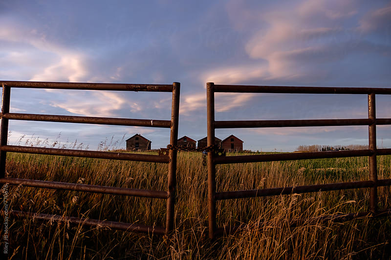 Four small old farm buildings behind a locked gate by Riley J.B. for Stocksy United