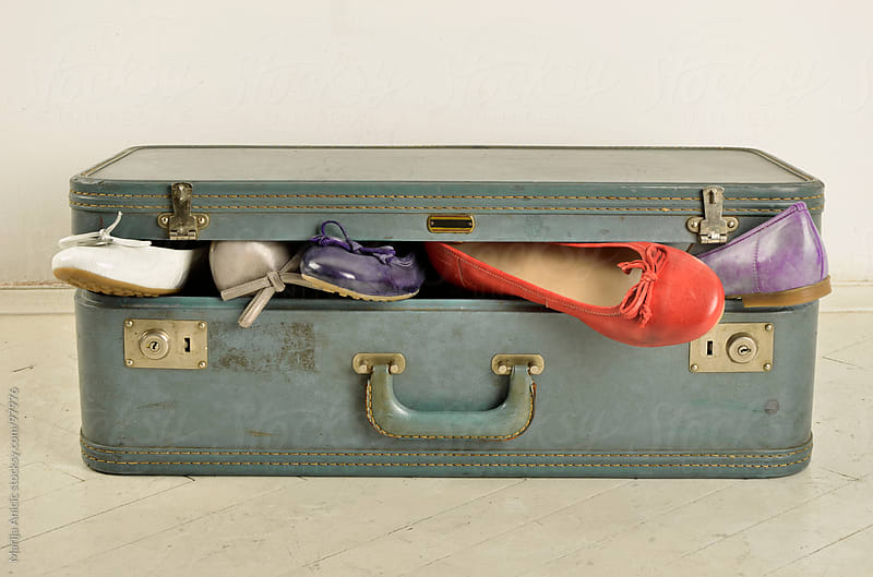 flats in old retro suitcase by Marija Anicic for Stocksy United