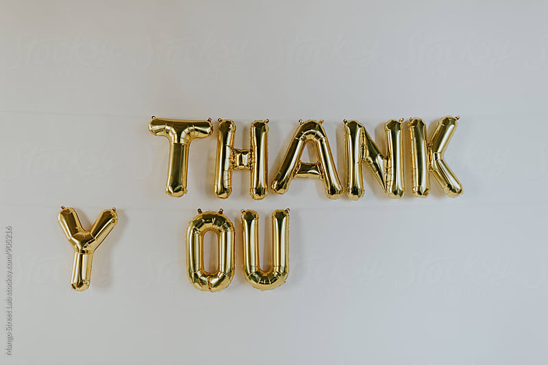 Gold Thank You Balloon Letters by Rachel Gulotta Photography for Stocksy United