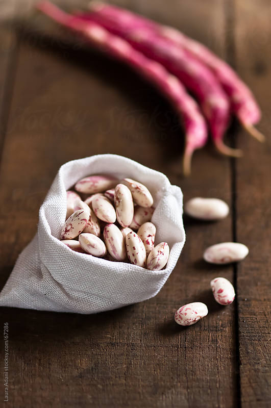 seeds of borlotto bean in a fabric bag by Laura Adani for Stocksy United