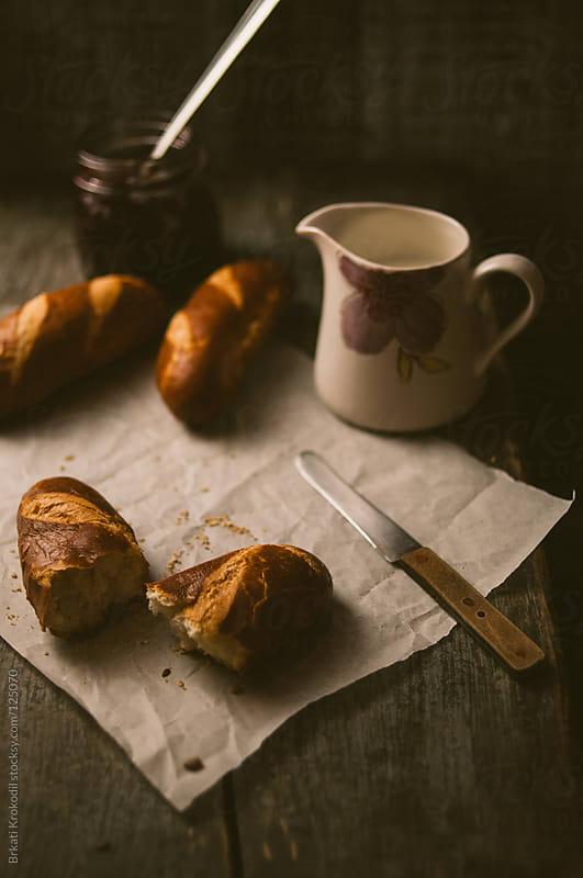 Bavarian Bread Rolls and Milk by Brkati Krokodil for Stocksy United