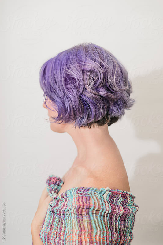 Purple Lavender Hair Woman by suzanne clements for Stocksy United