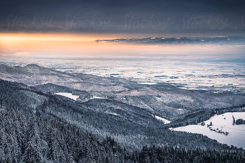 Panoramic view over the Black Forest to the French Vosges by Andreas Wonisch for Stocksy United