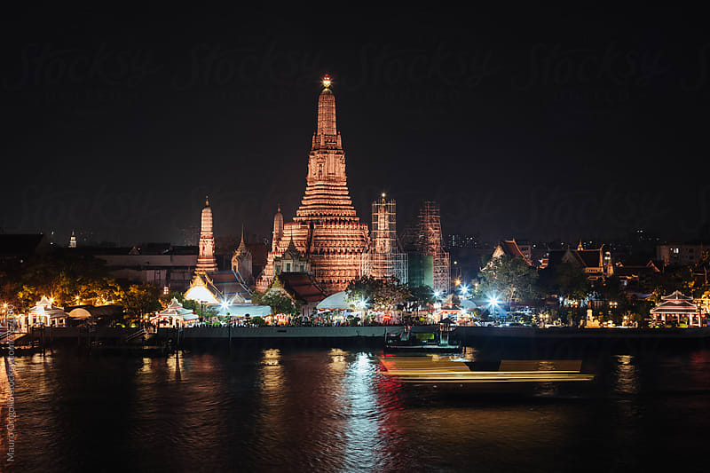 Temple at night. Thailand by Mauro Grigollo for Stocksy United