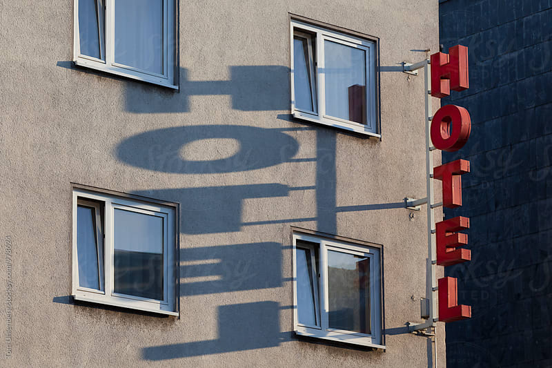 Generic Hotel Sign Attached to a Building Facade by Tom Uhlenberg for Stocksy United