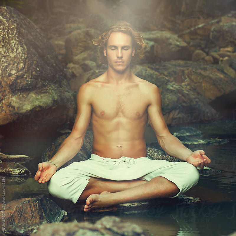 Young Handsome Man in Meditation by VISUALSPECTRUM for Stocksy United