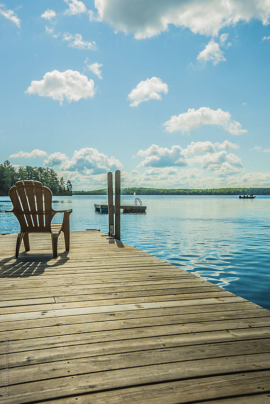North Woods Dock on a Sunny Late Summer Morning by suzanne clements for Stocksy United