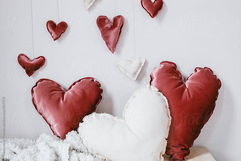 Valentine heart pillows  by Treasures & Travels for Stocksy United