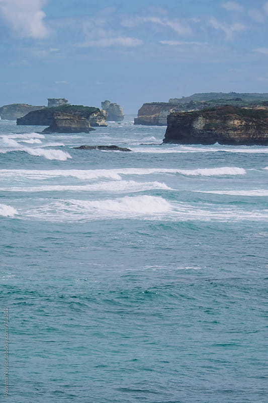 Famous limestone cliffs along the Great Ocean Road, Australia by Rowena Naylor for Stocksy United