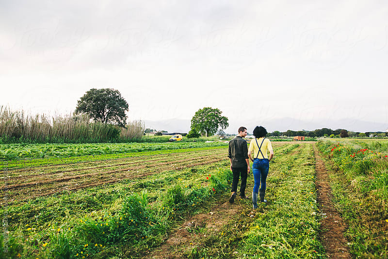 Farmer couple walking in the field.  by BONNINSTUDIO for Stocksy United