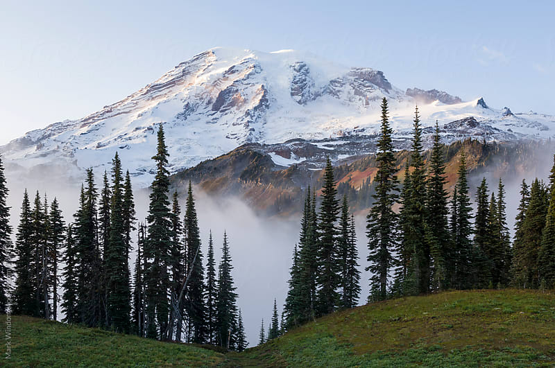 Mountain and fog in Autumn by Mark Windom for Stocksy United